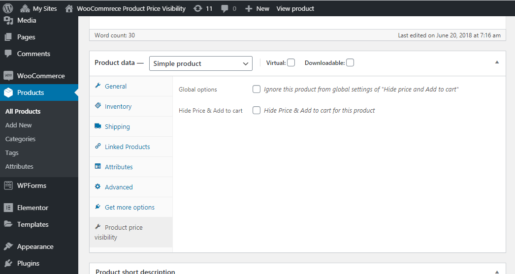 Woocommerce product price visibility admin screen 3