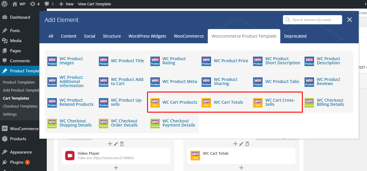 Cart page templates vc elements
