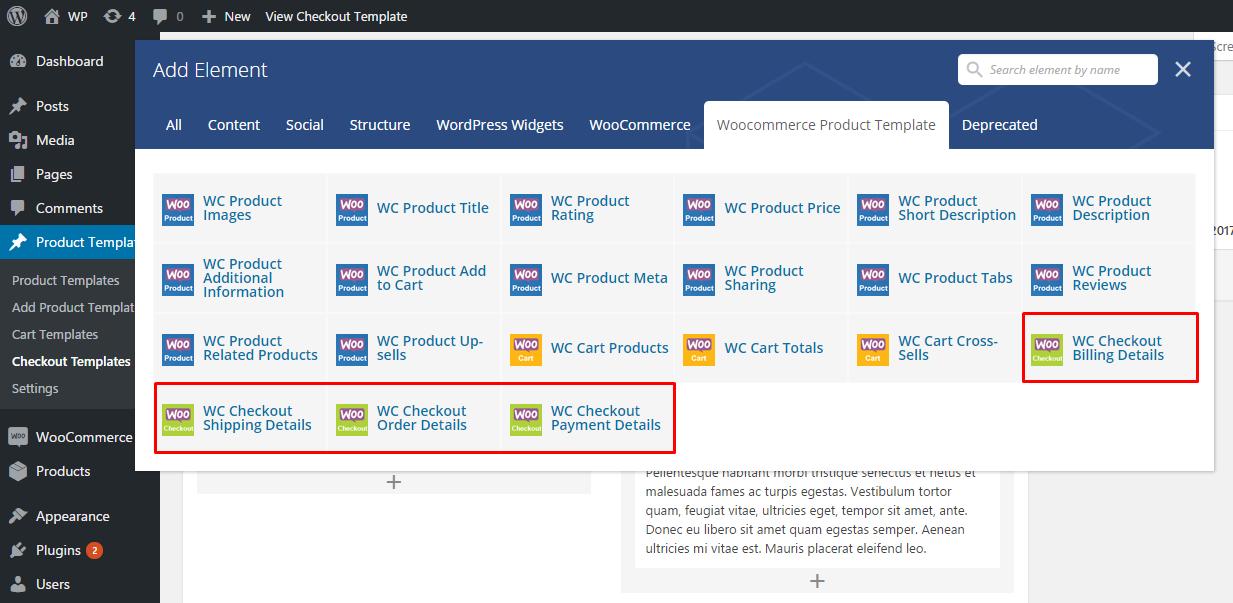 Checkout page templates vc elements