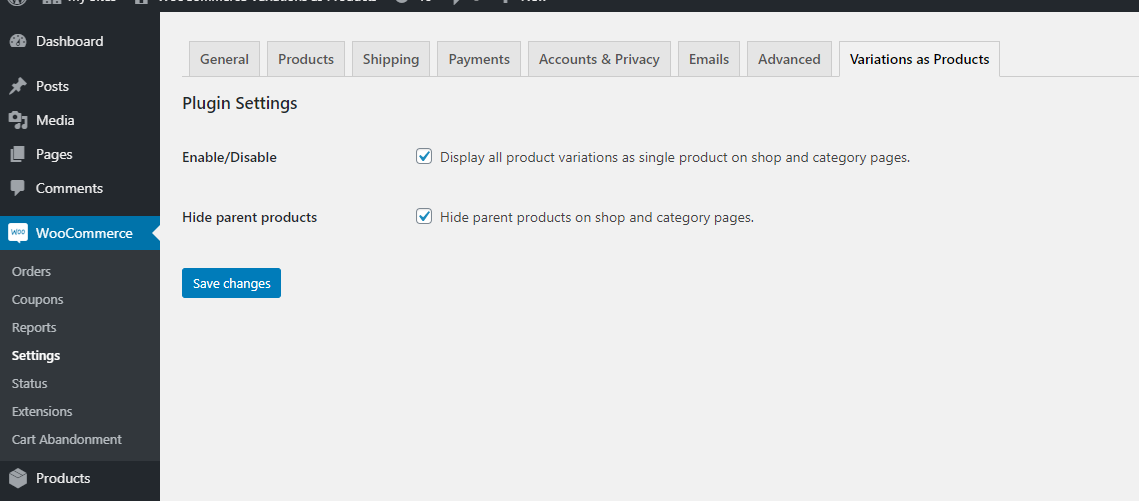 Woocommerce product variations as single product admin screen