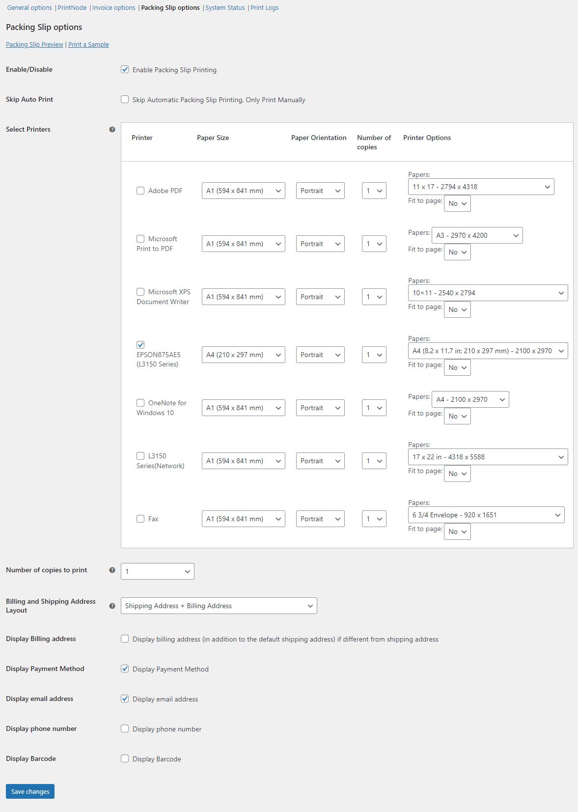 Opções de recibo de embalagem para impressão automática de pedido WooCommerce