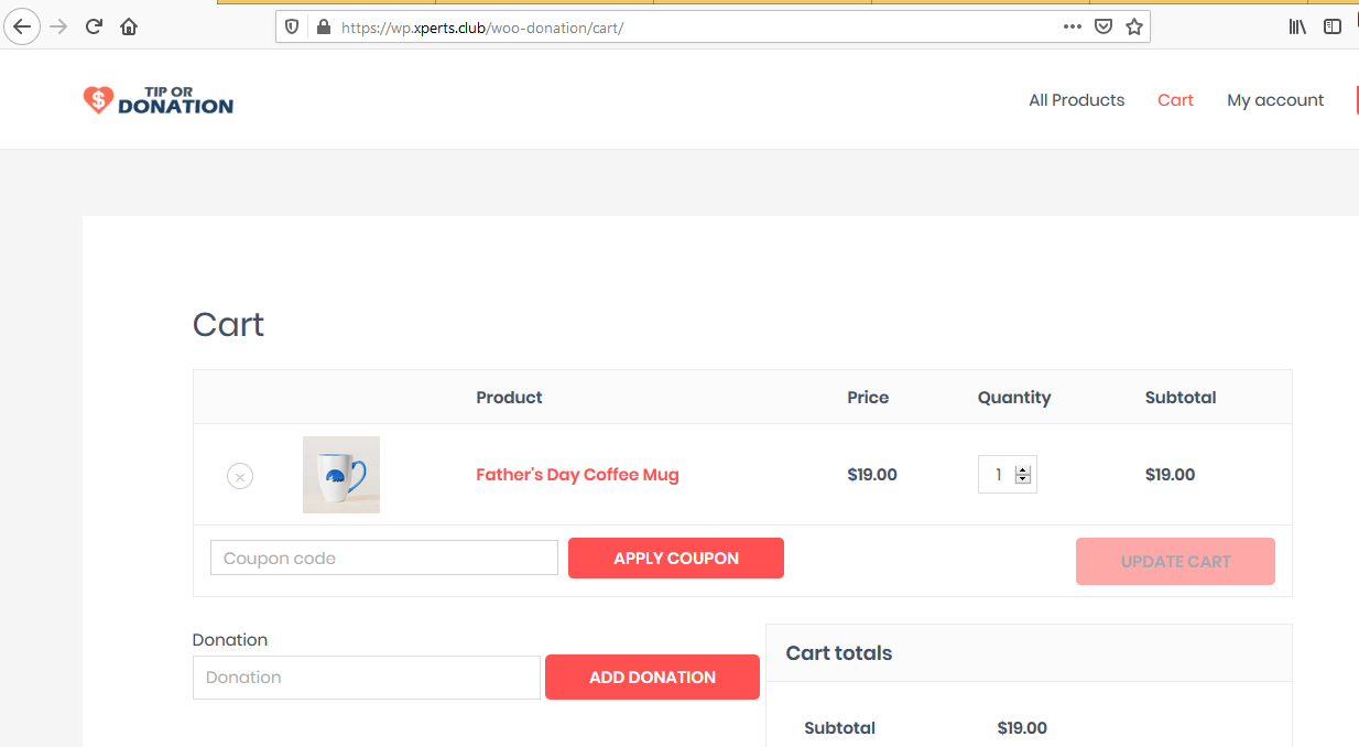 Ultimate WooCommerce Tip or Donation Customer Cart View