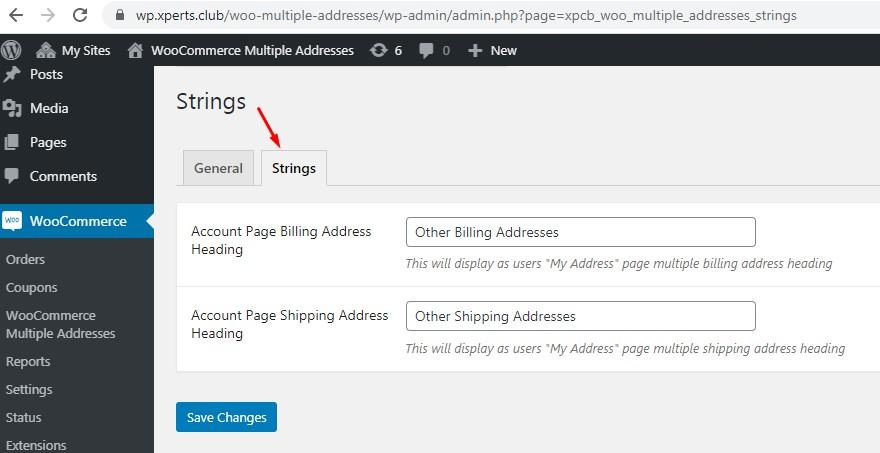 admin strings settings