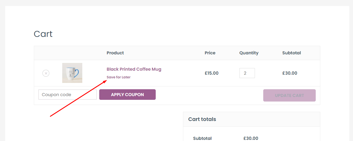 WooCommerce Save for Later list for admin