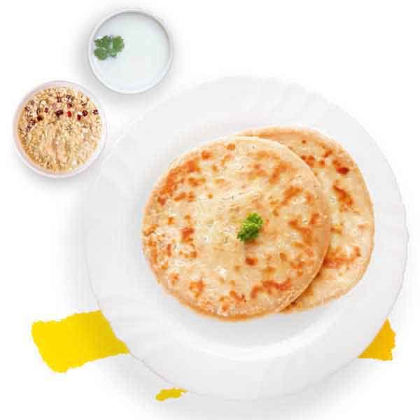 Aloo Paratha With Omelette & Muesli